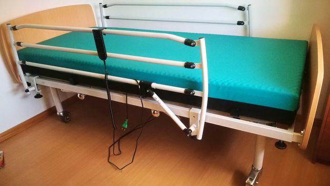 Cama hospitalar articulada semi-electrica c colchão anti-escaras visco