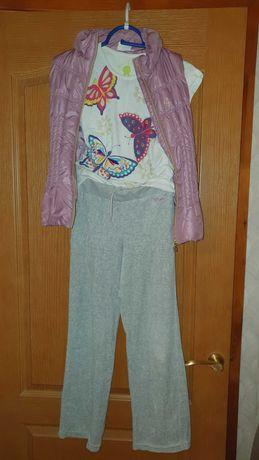 Жилетка, брюки для спорта, футболка для девочки