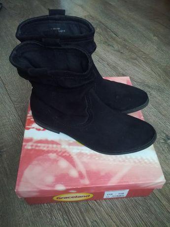 Botki buty damskie sztyblety czarne r.40