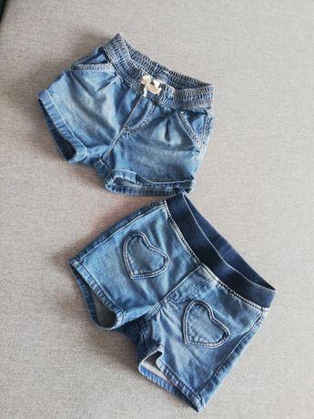 Spodenki jeansowe różowe H&M rozmiar 74 oraz 86cm 12-18miesiecy
