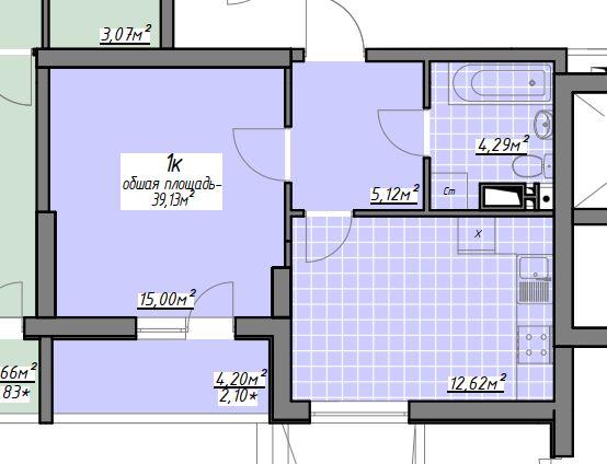 h РАССРОЧКА! Большая 39м 1-к квартира, новый дом, ЦЕНТР 10 минут