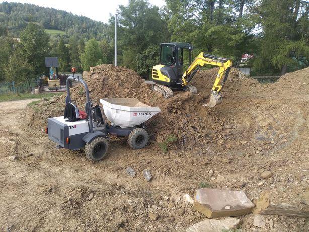 Usługi Mini KOPARKA-Plantowanie terenu, kanalizację ,oczyszczalnie