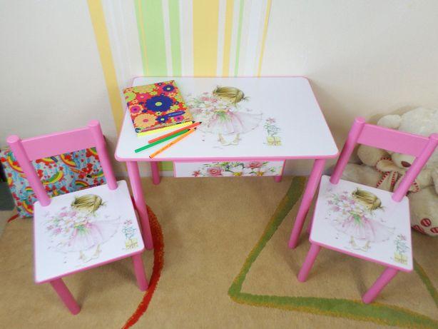 """Детский стол и стул """" Девочка и мышонок"""" (столик-парта,стульчик,ящик)"""