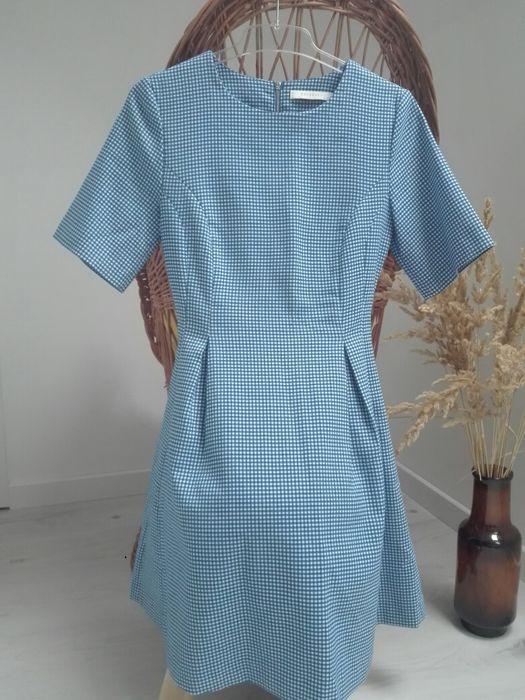 Retro sukienka Reserved w niebieską kratkę rozmiar 34. Krępiec - image 1