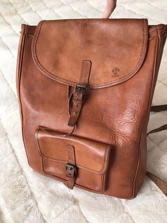 Кожаный винтажный рюкзак Ручная работа Франция