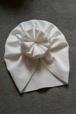 Turban biały wiosna czapka czapeczka