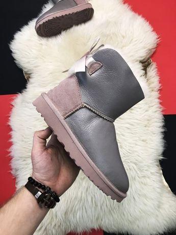 Сапоги UGG Mini Bailey Bow 2 Grey | зимние женские угги