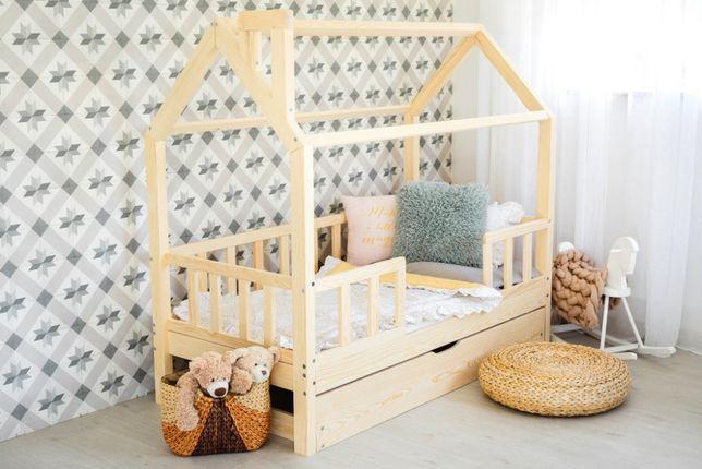 Nowe łóżko domek skandynawski, dziecięce, Kiri 5 Barierek NATURALNE