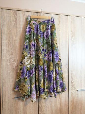 Spódnica kolorowa asymetryczna vintage rozmiar M/L