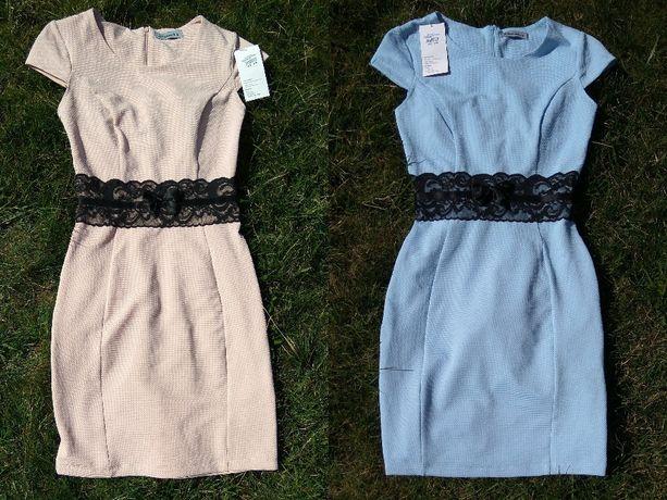 Nowa jasno niebieska błękitna jasno różowa sukienka z koronką XS 34