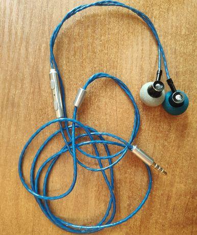 Słuchawki z mikrofonem, wzmacniany kabel, niebieskie, douszne