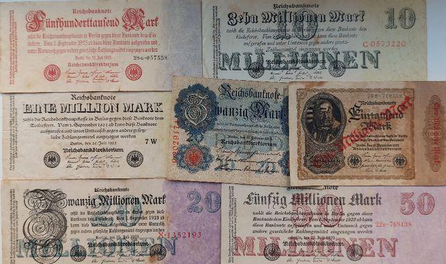 Набор банкнот Германия периода 1914 - 1923 годов 7 бон