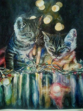 Акварель «Котики з гірляндою»