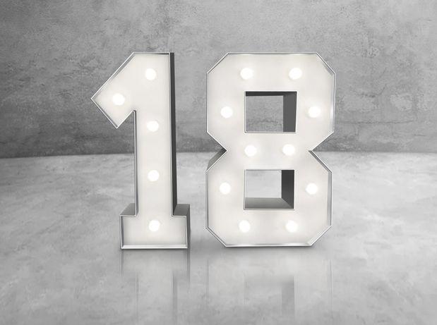 Podświetlane cyfy 18 120cm Można zamówić dowolne cyfry