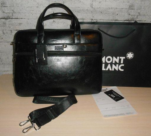 Skorzana męska torba torebka aktówka teczka Mont Blanc, skóra, Niemcy