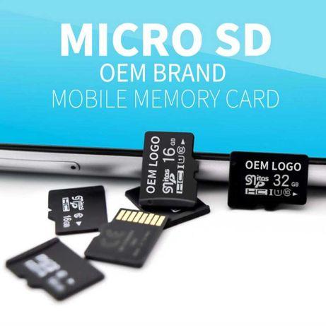 Cartão de memória Micro SD, mais adaptador USB