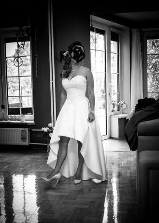 Suknia ślubna biała roz. 34/36 przód krótki MS Moda