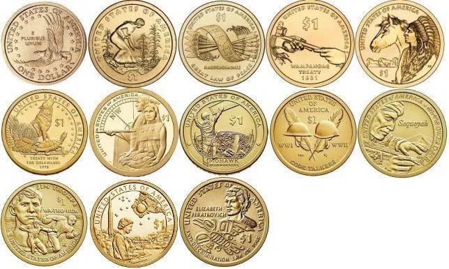 1 доллар. Набор монет США один доллар Сакагавея
