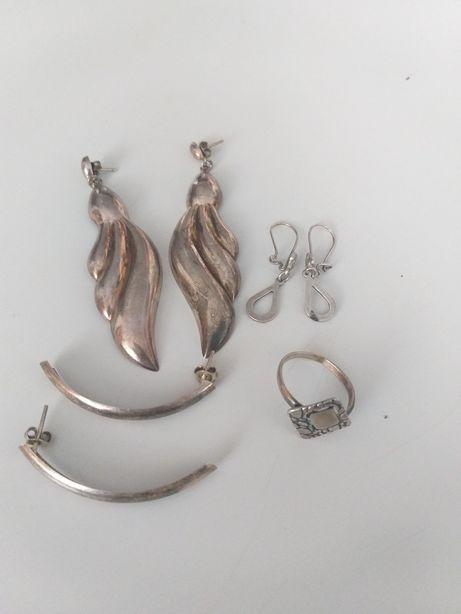 Stare wyroby ze srebra pierścionek i kolczyki