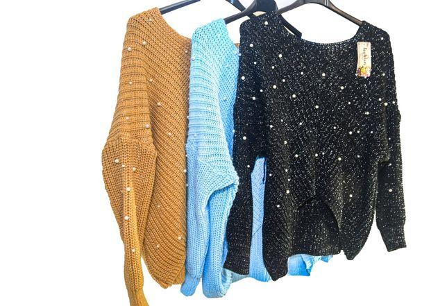 Karmelowy sweterek perły
