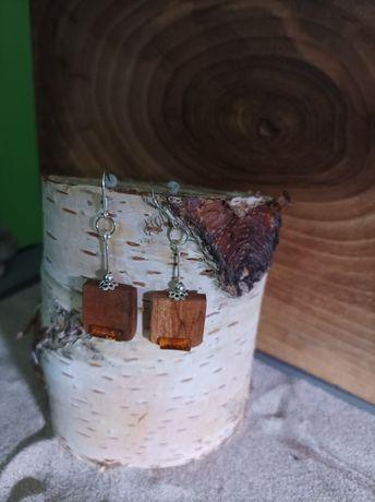 Kolczyki z drewna Merbau i Bursztyn