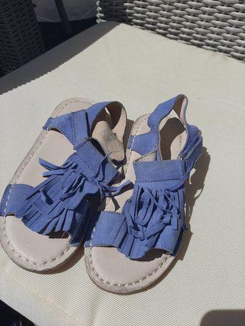 Sandały skórzane błękit 30