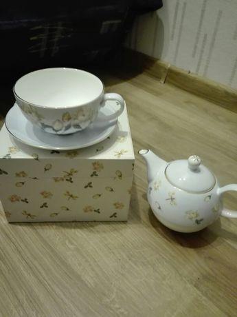 Zestaw filiżanka,czajniczek,talerzyk.Pomysł na prezent