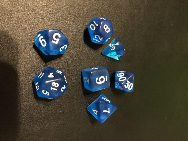 Kości rpg szafirowe niebieskie gry planszowe board game d&d