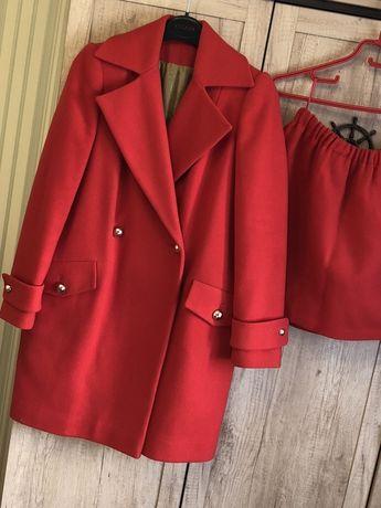 Эксклюзивное шерстяное пальто + юбка