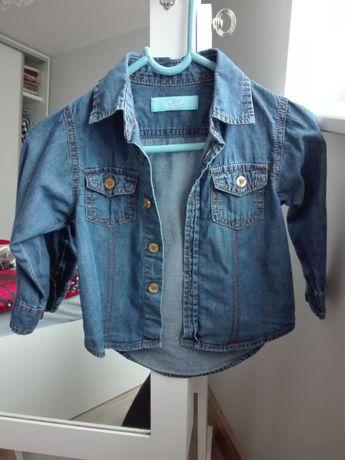 Koszula jeansowa/dżinsowa z długim rękawem 12-18 m-cy, r. 86