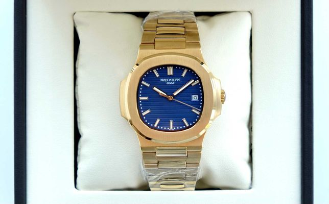 Patek Philippe Nautilus Gold Blue мужские механические наручные часы
