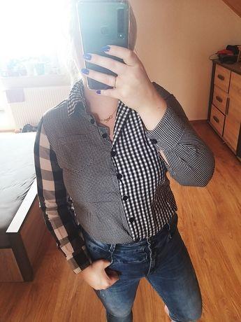 Koszula patchwork kratkę kratę biała czarna s 36 xs 34 blogerka hit