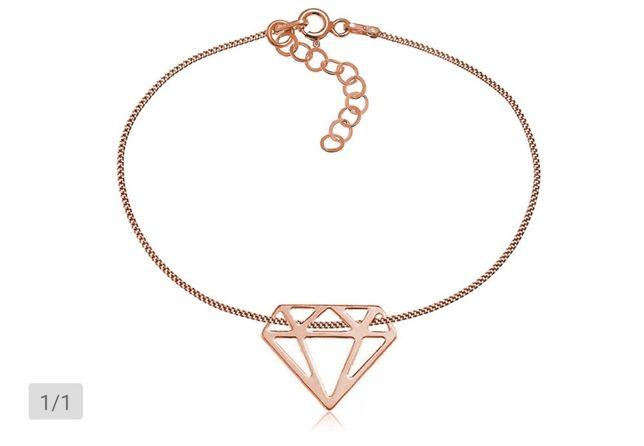Bransoletka celebrytka diament różowe złoto NOWA