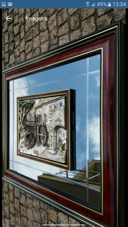 Quadros novos com figuras a estanho pintados á mão, vidro espelhado