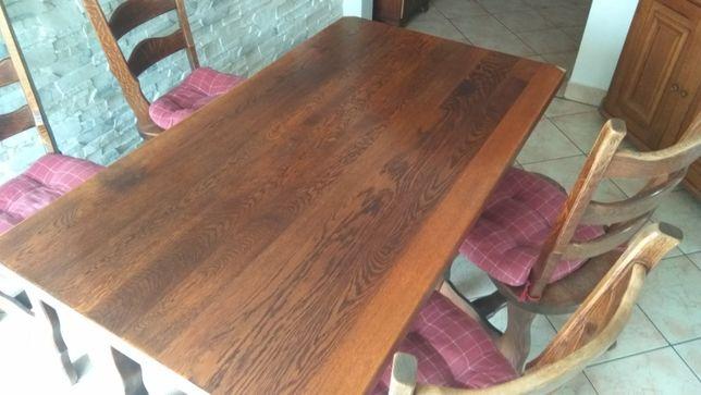 Dębowy stół + 4 krzesła