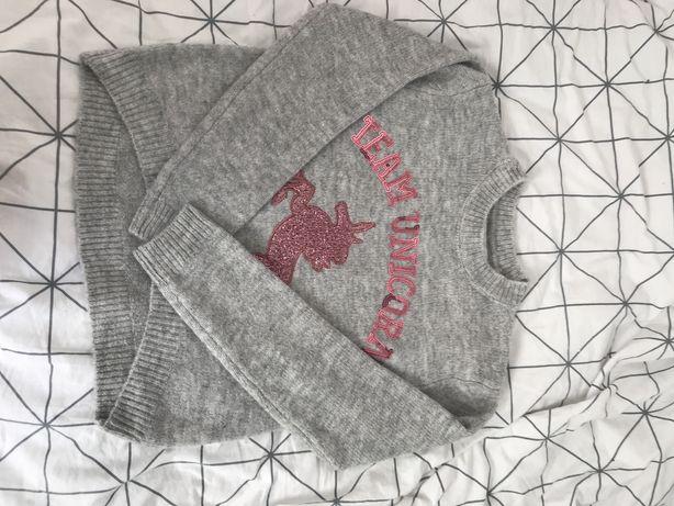 Sweterek unikorn dla dziewczynki 140 9-10 lat nie używany bez metki