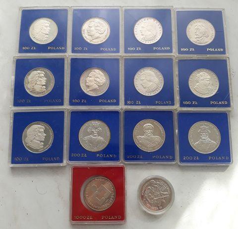 zestaw monet srebrnych prl lustrzanki