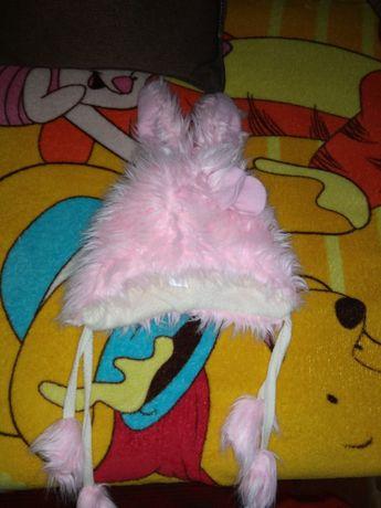 Зимняя шапка-зайчик для девочки 1.5-2.5 года