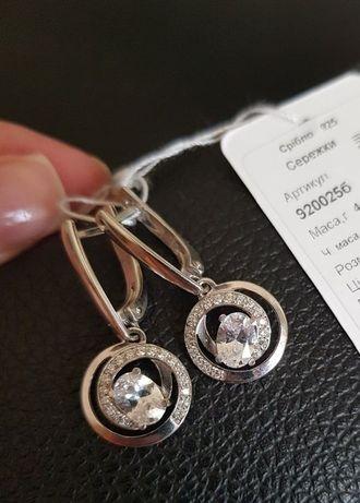 Серьги серебро 925 пробы с фианитами