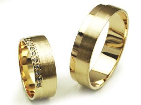 Goldrun Złote Obrączki Ślubne E042 Para Bezszwowe