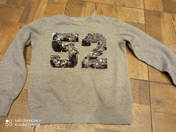 Bluza dresowa dla dziewczynki 146 152 szara cekiny z cekinami c&a
