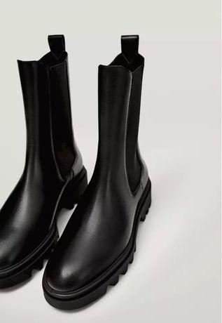 Ботинки челси из натуральной кожи massimo dutti
