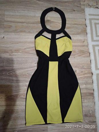 Желто- чёрное платье h&м