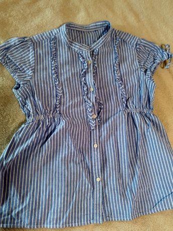 Рубашка с коротким рукавом футболка летняя девочке голубая 128 р