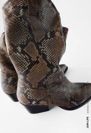 ZARA kowbojki skóra naturalna (soft) motyw zwierzęcy