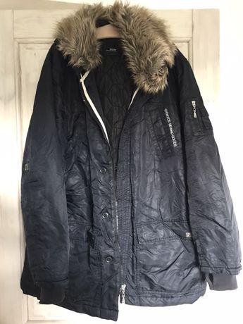 Czarny męski plaszcz kurtka parka z kapturem jesień zima