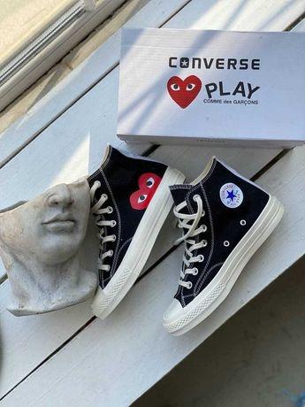 Кеды конверс женские Converse Des Garcons высокие олл стар черные