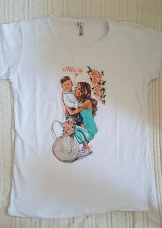 Momlife- sliczna koszulka- l