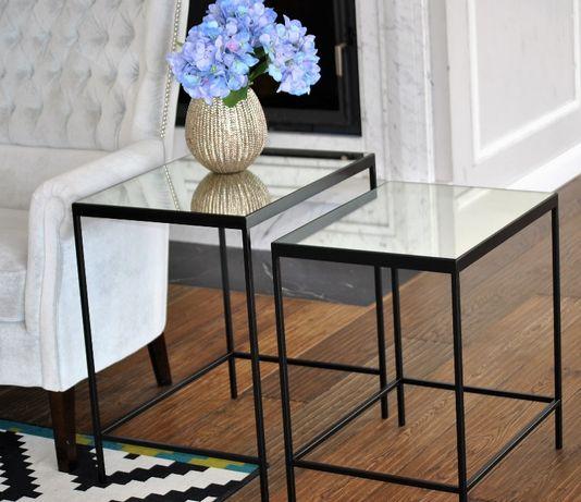 srebrny czarny stolik nocny lustrzany pomocniczy kawowy glamour