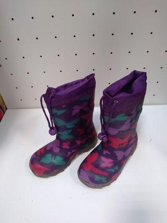 Резиновые сапожки для девочки со светящейся подошвой р.27